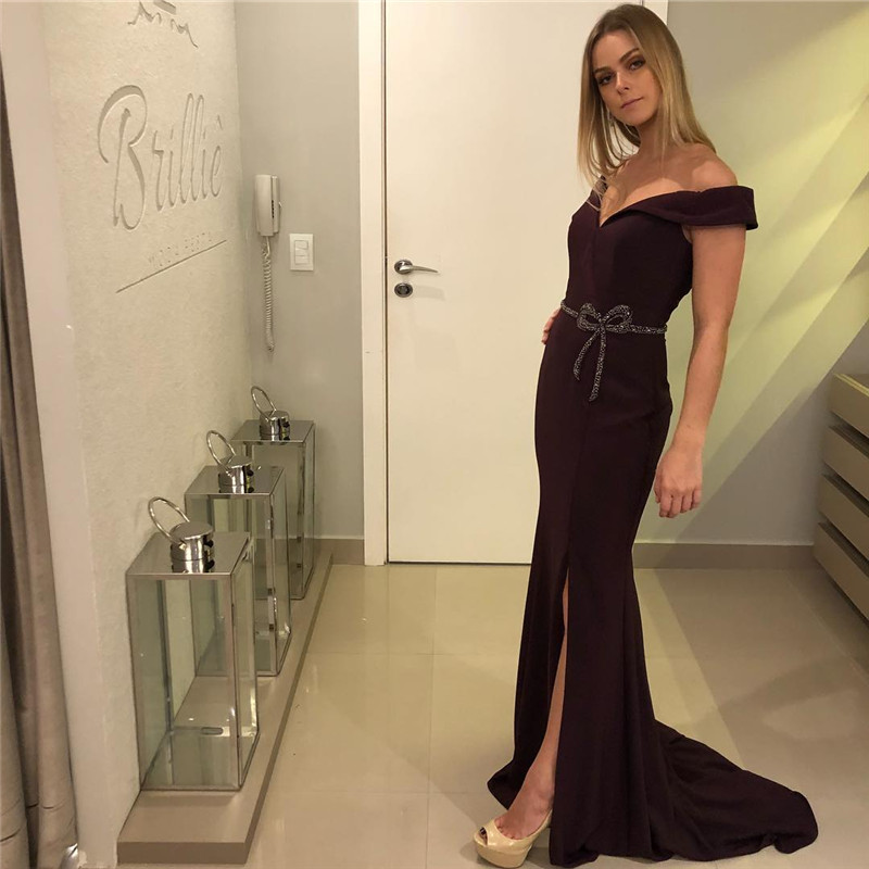 Sexy Side Split   Prom     Dresses   2019 Off Shoulder Long Mermaid Evening   Dress   For Women Beaded Pearls vestidos de fiesta de noche