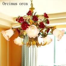 European style living room flowers chandeliers art iron  lights Korean bedroom Chandelier Postage free