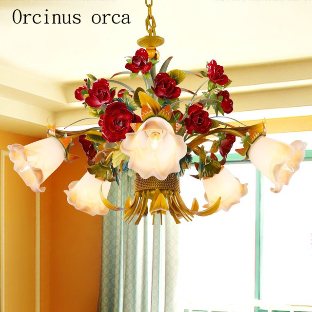European Style Living Room Flowers Chandeliers Art Iron Lights Korean Bedroom Chandelier Postage Free