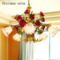 European style living room flowers chandeliers art iron flowers lights Korean bedroom Chandelier Postage free