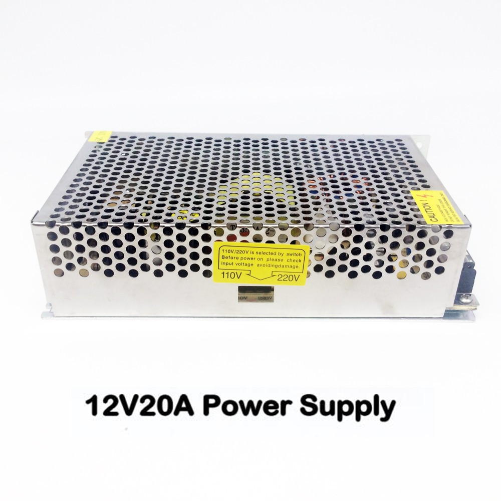 AC110-220V 50/60Hz to 12V 20A 240W DC LED Strip Lights Transformer Switch Power Supply Adapter For Security CCTV Camera System dc power supply 36v 9 7a 350w led driver transformer 110v 240v ac to dc36v power adapter for strip lamp cnc cctv