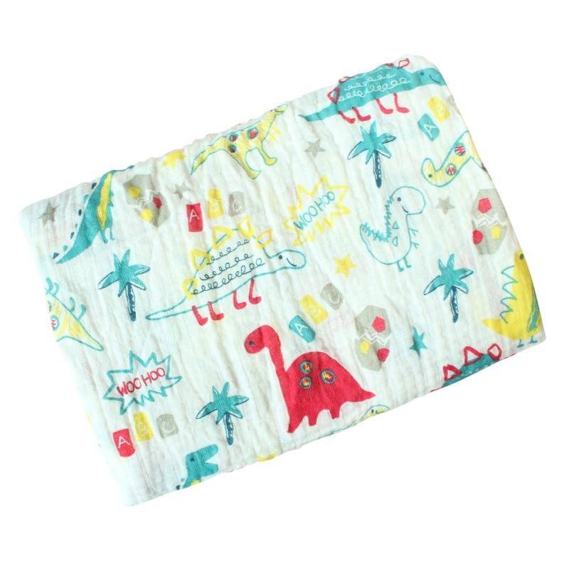 Baby Blanket Breathable Muslin Wrap 120*120cm Newborn Cotton Bamboo Fiber Baby Swaddle Multifunctional Muslin Bedding  Free Ship