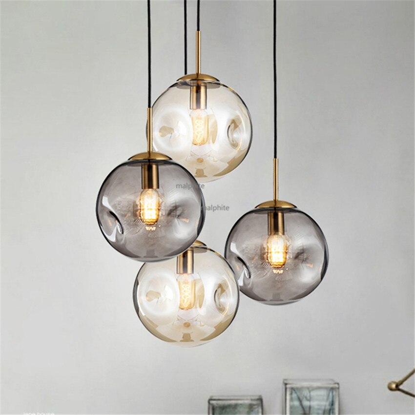 現代の Led 照明北欧スタイルのガラス玉ペンダントランプロフトシンプルなペンダントライトリビングルームベッドルームホーム Hanglamp 光沢 -