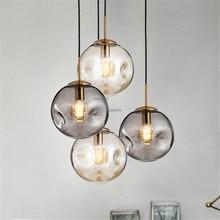 Modern LED Lighting Nordic Style Glass Ball Pendant Lamp Loft Simple Pendant Lights Living Room Bedroom Home Hanglamp Lustre