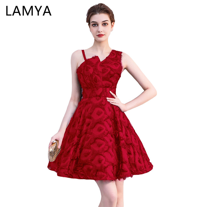 Lamya One Shouler Short Prom Dresses 2019 Customized Simple A Line Evening Party Dress Women Elegant Special Occasion Gowns