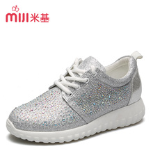 Miji 2016 New Fashion Comfortable Breathable Women Casual Shoes Lace Up Flat Brand Quality Size35-39 Drilling Solid Color LF-114