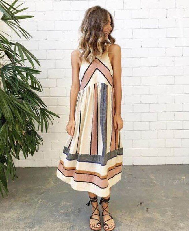 2018 Hot Sale Brand New Women Summer Dress Plus Size O Neck Sleeveless Long Dress Boho Beach Print Stripe A Line Dresses Vestido