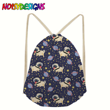 NOISYDESIGNS Fashion Drawstring Bags Space Dogs Pattern Travel Storage Package Women Girls Travel Sports Shoe Dance Bag Pocket