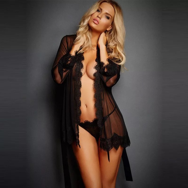 2018 Brand New Women Sexy V- Neck Nightdress Satin Lace Kimono Sleepwear Lingerie Dress Gown Robe Kits Sexy Lace Sleepwear
