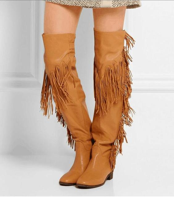 a0f4838e6d2a9 Tall Gladiator Over Knee High Boots Tassel Boots Women Buckle Back Flat  Booties Leather Fringe Thigh High Country Style Boots