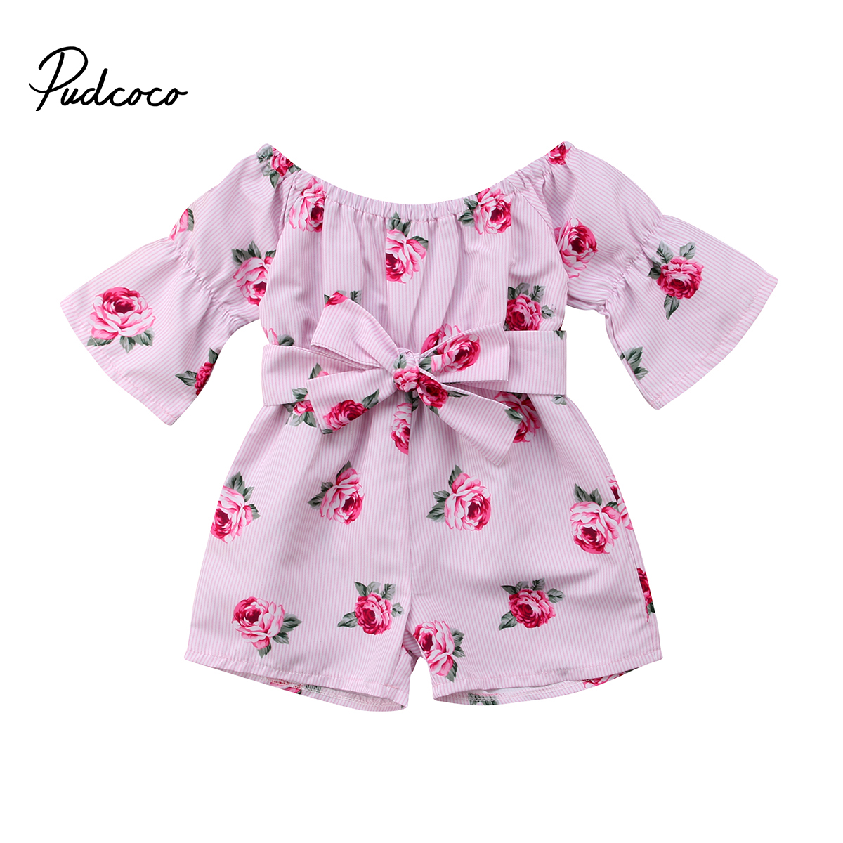 2018 Brand New Princess Baby Girl Floral   Romper   Off shoulder Flare Sleeve Bow Striped Jumpsuit Playsuit Outfit Sunsuit Clothes