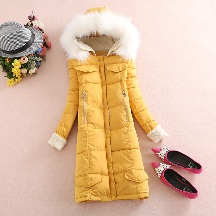 ФОТО 2016 New Winter Coat Jacket Dress In Thick Long Hair Feather Padded Jacket Student Lamb Winter Jacket Women wholesale