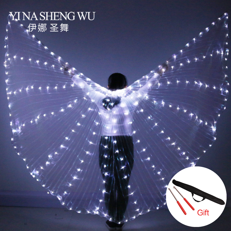 Women Fiber Optic Dance Wings Egypt Belly Dance Isis Wings LED Indian Dance Belly Dance Colorful Wings Include Sticks Wing Bag