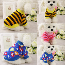 Striped Love Small Flowers Coral Cashmere Striped Small Coat VIP Teddy Clothing Pet Dog Clothes(China)