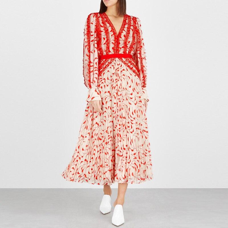 Bohème Maxi robe femmes 2019 été Boho Chic col en V à manches longues dentelle robe plissée en mousseline de soie imprimé longue robe de plage