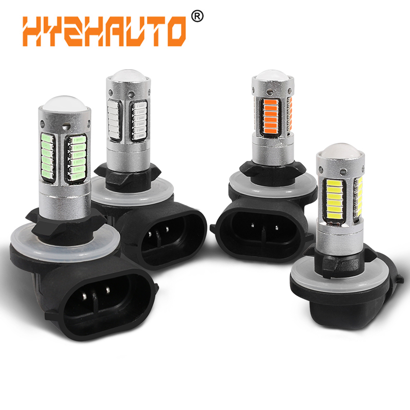 HYZHAUTO 1Pcs H27 881 LED Fog Lamp 4014 30SMD Car LED Fog Lights Day Running Light Driving Lamp 12V 6000K White Yellow Ice Blue