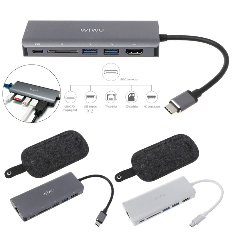 6 in1 USB 3.0 Hub RJ45 Card Reader HDMI Multi function for MacBook Pro Air USB Type C 4K Video Adapter цена в Москве и Питере