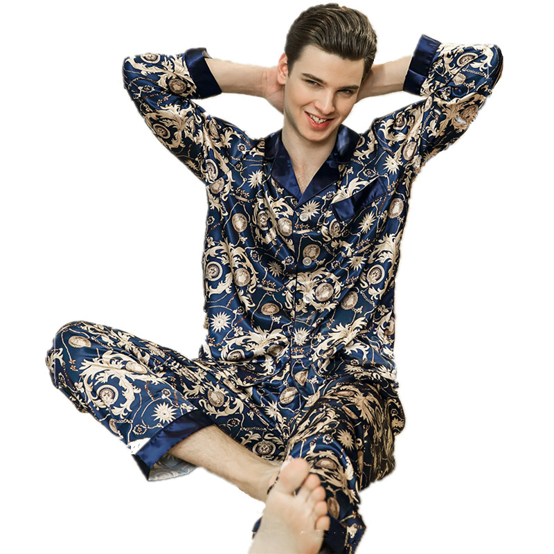Luxury Silk Pajamas Men's Spring Satin Men Pyjama Sleepwear Long Sleeve Shirt+Pants Home Clothes Suit Soft Nightgown For Male