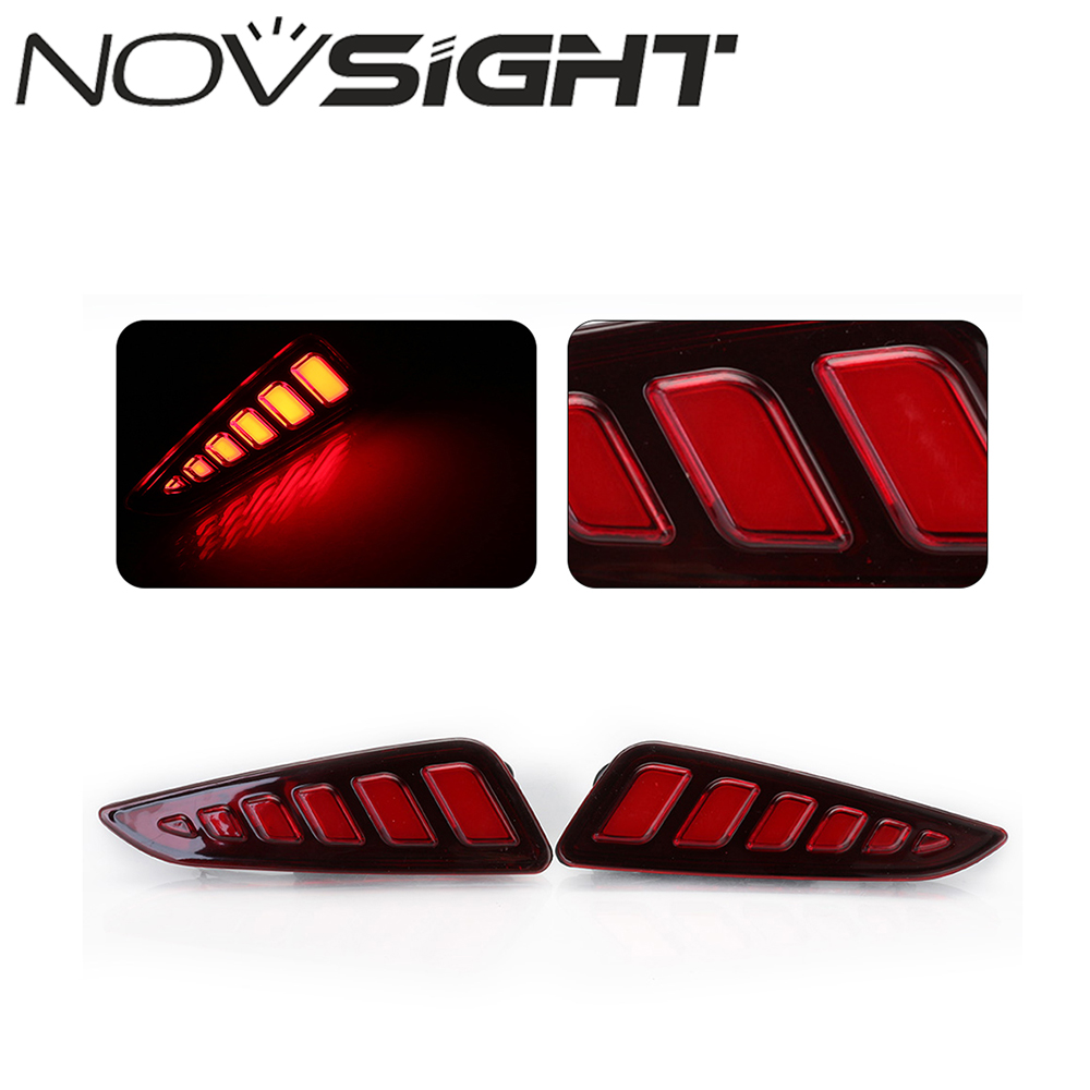 NOVSIGHT 2PCS Red Rear Bumper Reflector Tail Stop Light Led Auto Car Rear Warning Light for Toyota CHR C-HR 2017-2018 novsight auto car led rear bumper warning light break lamp for toyota highlander 2015 2017 red tail light free shipping