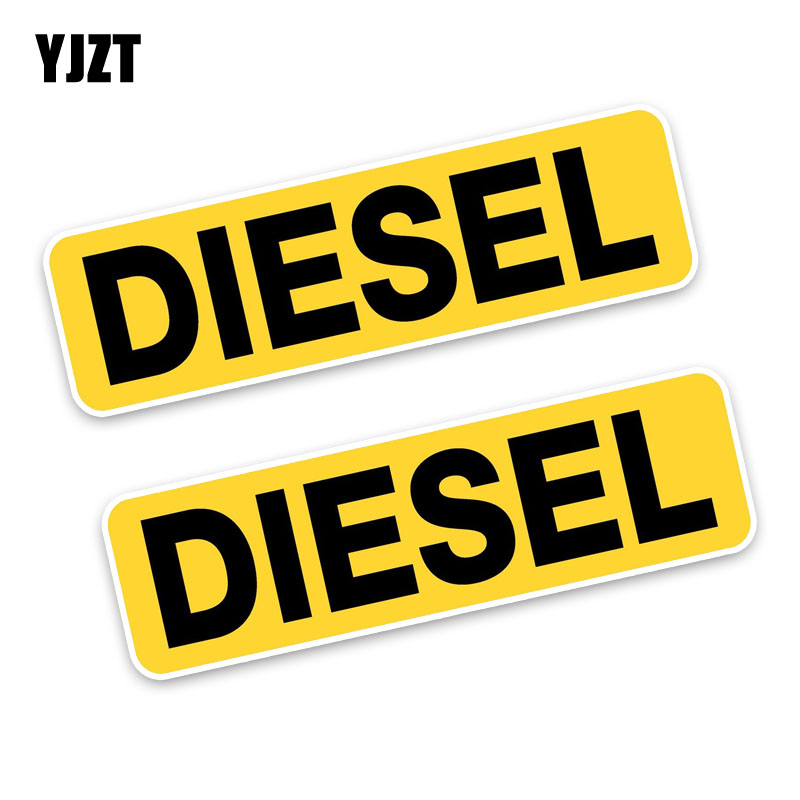YJZT 2x 10.6*3CM Reminder DIESEL FUEL Only Fashion Funny Retro-reflective Car Sticker Decals C1-8259