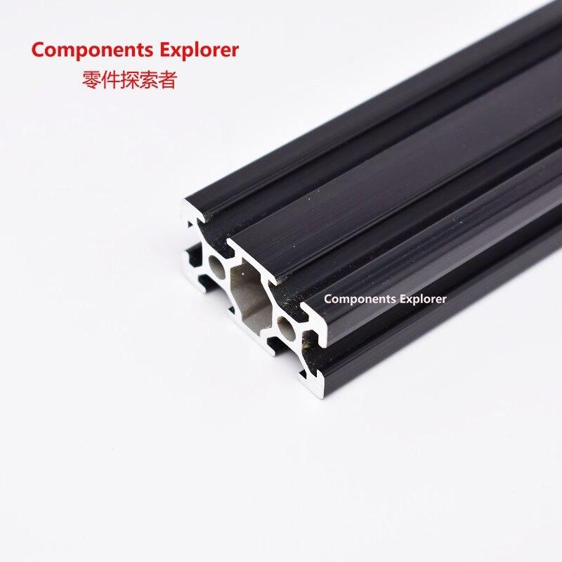 Произвольная резка 1000 мм 2040 черного алюминиевого профиля для экструзии, черного цвета.