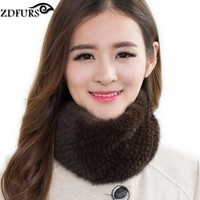 ZDFURS * Women's Real Genuine Knitted Mink Fur Winter Scarf Headband Wrap Ring Neckwarmer ZDS-162005