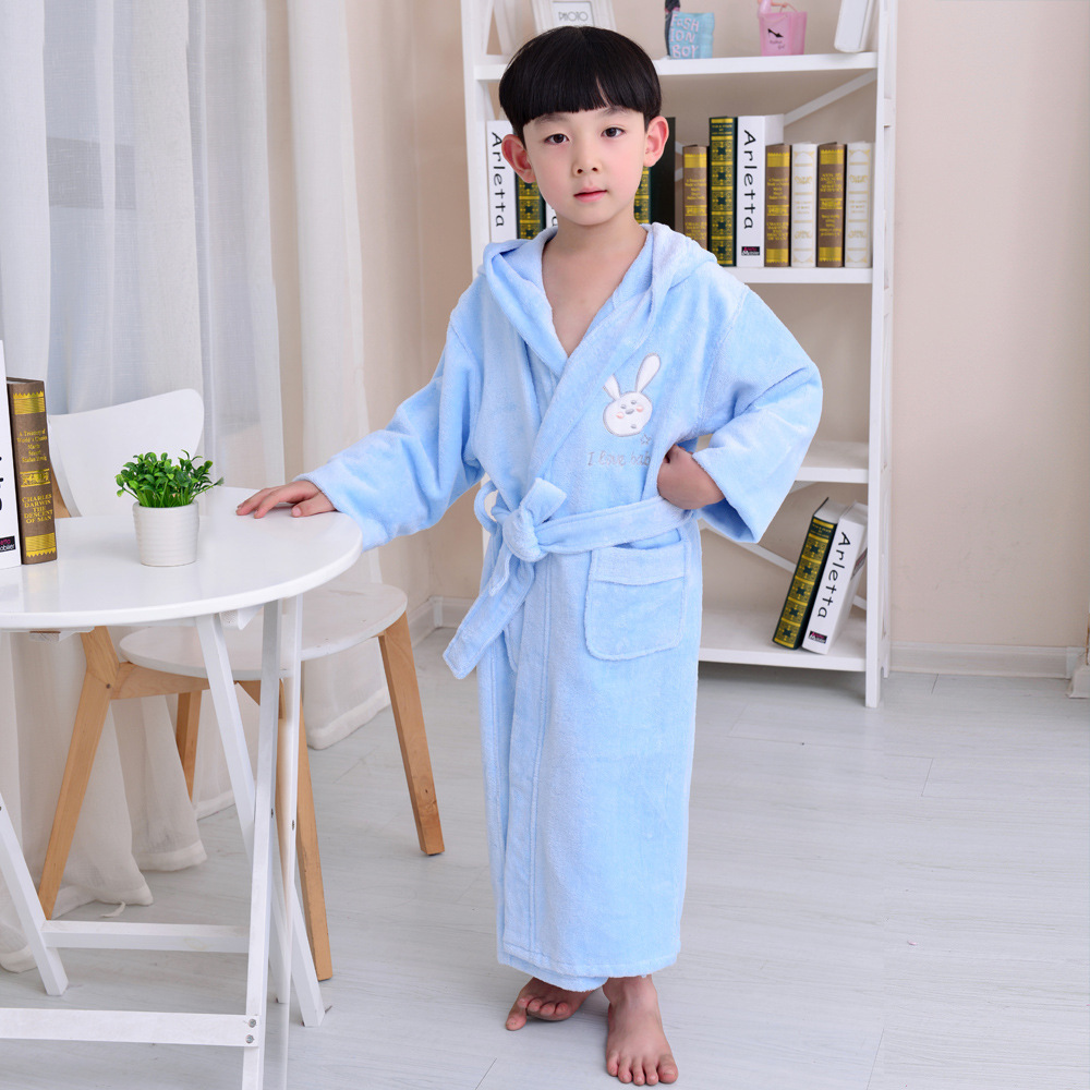 Bathrobe: 100% Cotton Bamboo Bathrobe With Hooded Boys Kids Bath