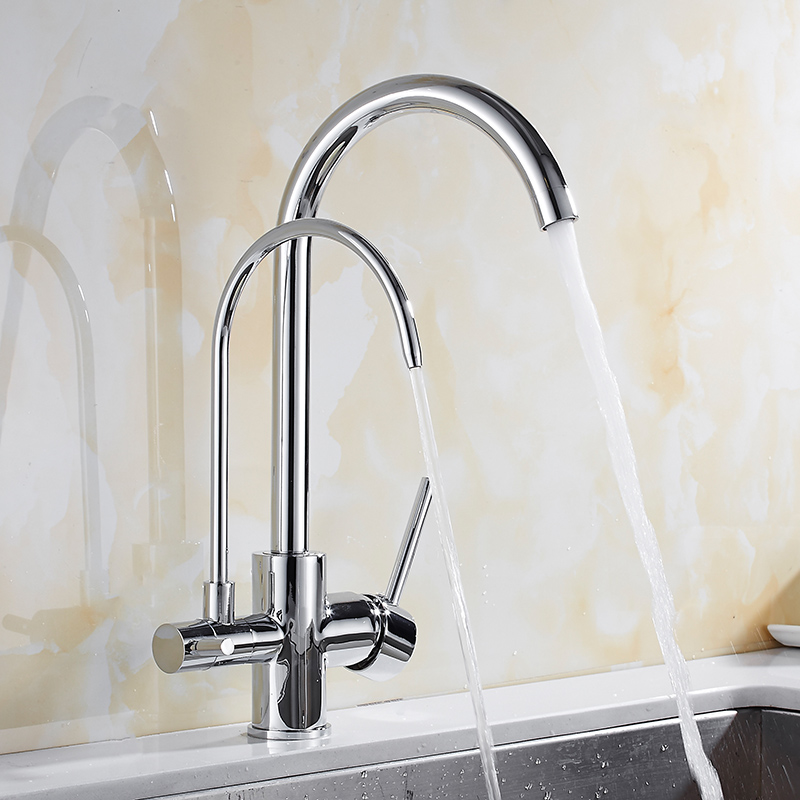 Chrome/Black Kitchen Faucet Brass Crane For Kitchen Deck Mounted Water Filter Tap Three Ways Sink Mixer 3 Way Kitchen Faucet chrome kitchen sink faucet solid brass spring two spouts deck mount kitchen mixer tap