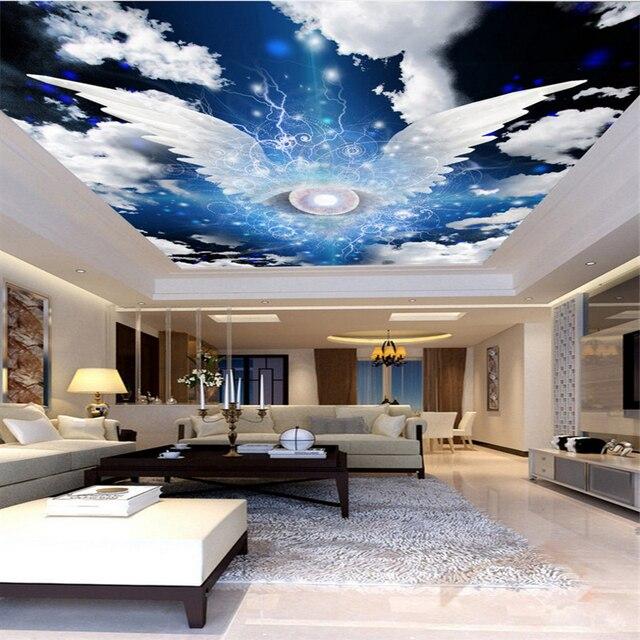 Beibehang grand fond décran personnalisé papier peint ailes dange ciel blanc nuage