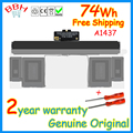 New genuine Battery A1437 battery for Apple MacBook Pro Retina 13'' inch A1425 series MD212 MD213 MD231 11.21V 70WH 6000mah