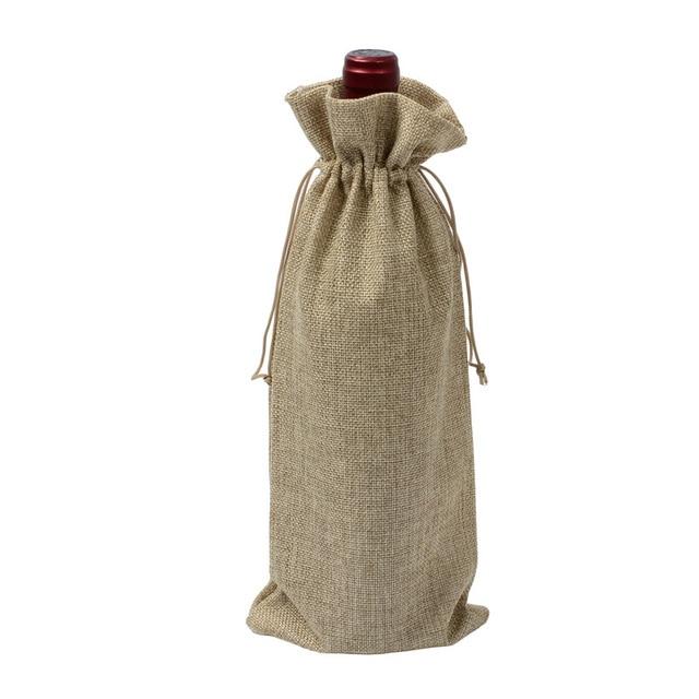100pcs lot Hessian Rustic Jute Burlap Wine Cover Bag For Wedding Festival Home Christmas Wine Bottle