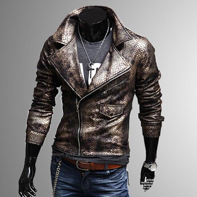 Short Male Large Leather Lapel Slim Shipping Jacket Motorbike Free wIq8YvS