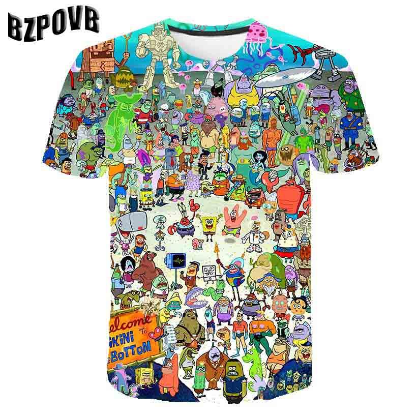 19 New 3D MEN Monster Tee Short Sleeve Tshirt Cartoon Funny Casual Summer T-shirt Round Neck Top T Shirt