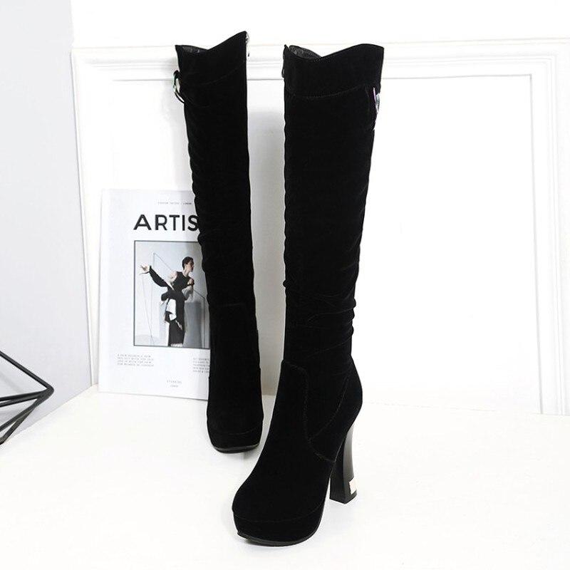 Bottes Genou Sabot 2018 Fermeture Haute Taille Garder Chaussures 43 Côté Lxunyi 34 Talons Éclair Femme D'hiver Femmes Noir Chaud Grande Nouveau Au qIfdCw6zd