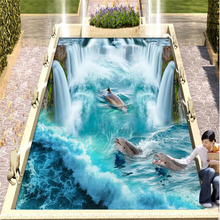 Pvc flooring waterproof Self-adhesive 3d wall murals wallpaper Great Falls Beach