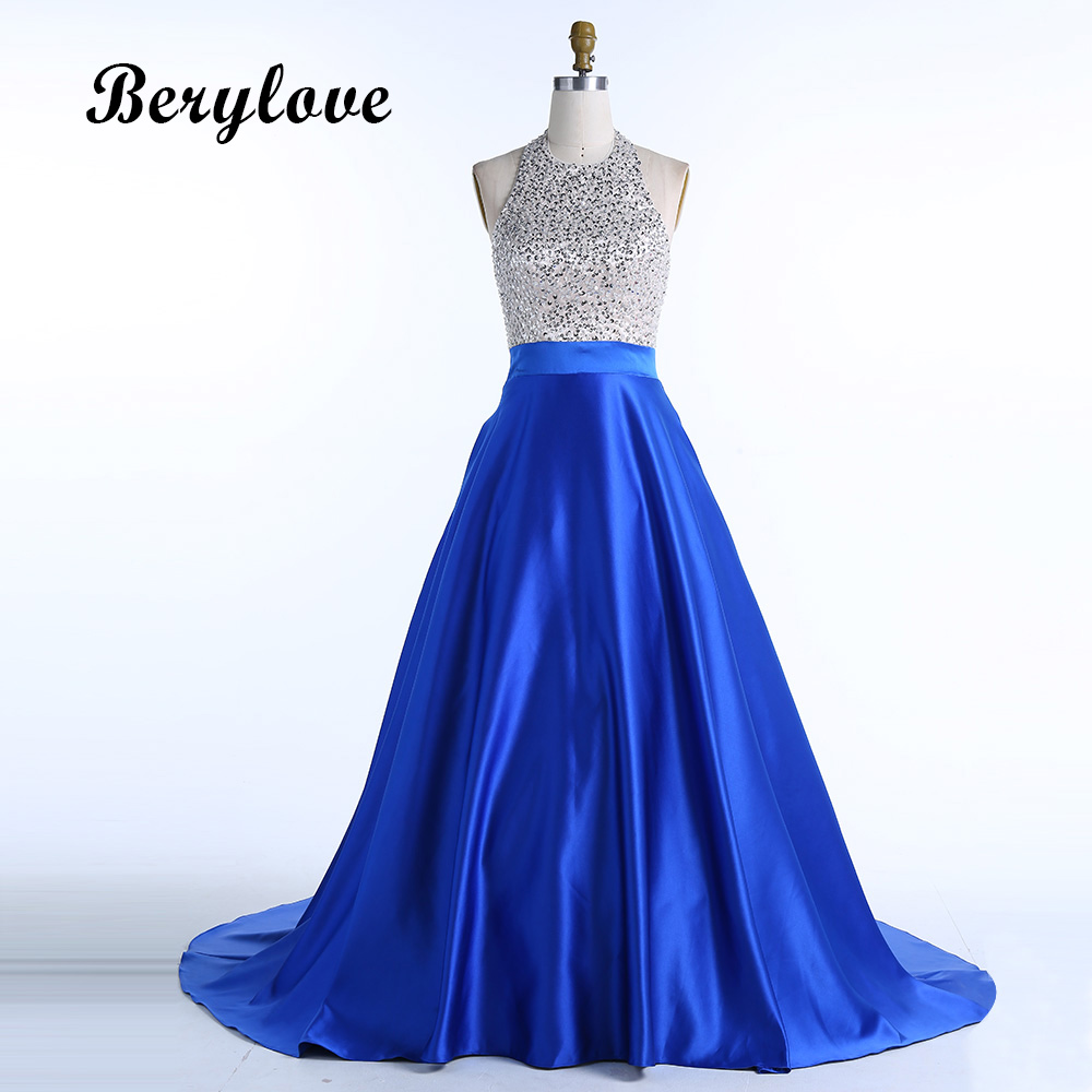 BeryLove Long Ball Gown Royal Blue Satin Evening Dresses 2018 Halter ...