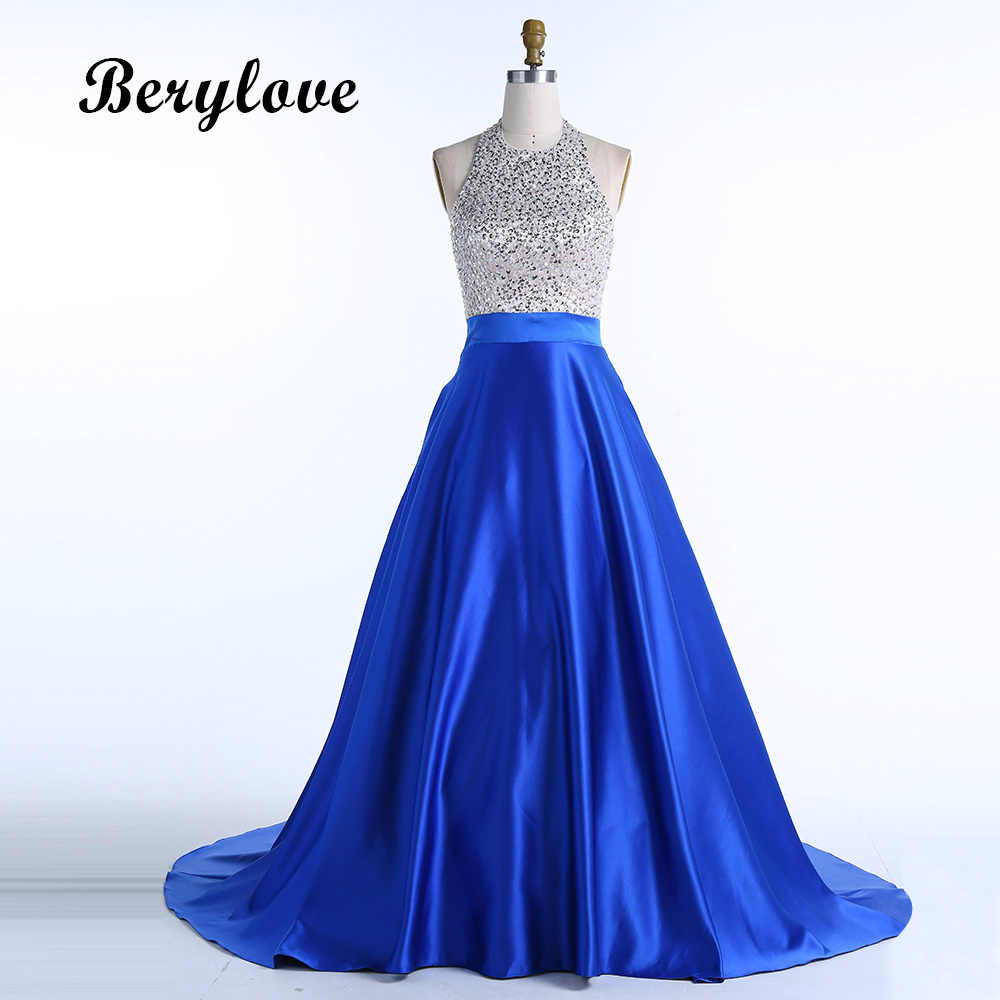 9e0e303560b BeryLove Long Ball Gown Royal Blue Satin Evening Dresses 2018 Halter  Backless Beaded Evening Gowns Formal