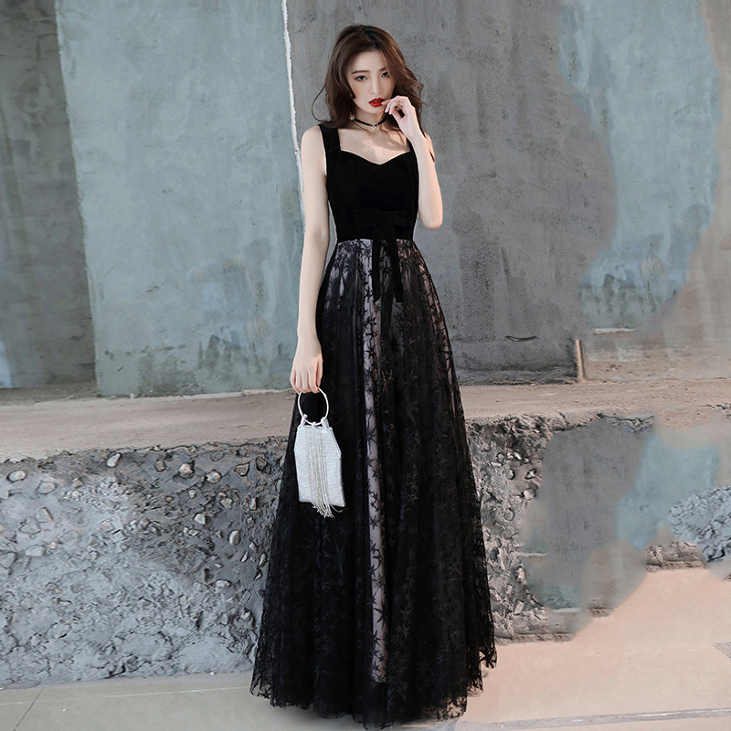 2019 Black A Line Evening Dresses Long Vestido De Festa Floor-Length Elegant Prom Gown V Neck Formal Party Dresses In Stock