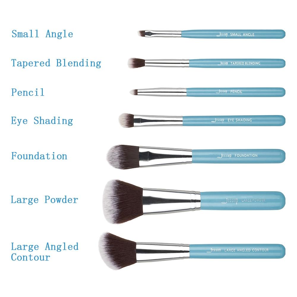Jessup 7pcs Makeup børster Sæt Blå / Sølv Træ Håndtag Blanding - Makeup - Foto 6