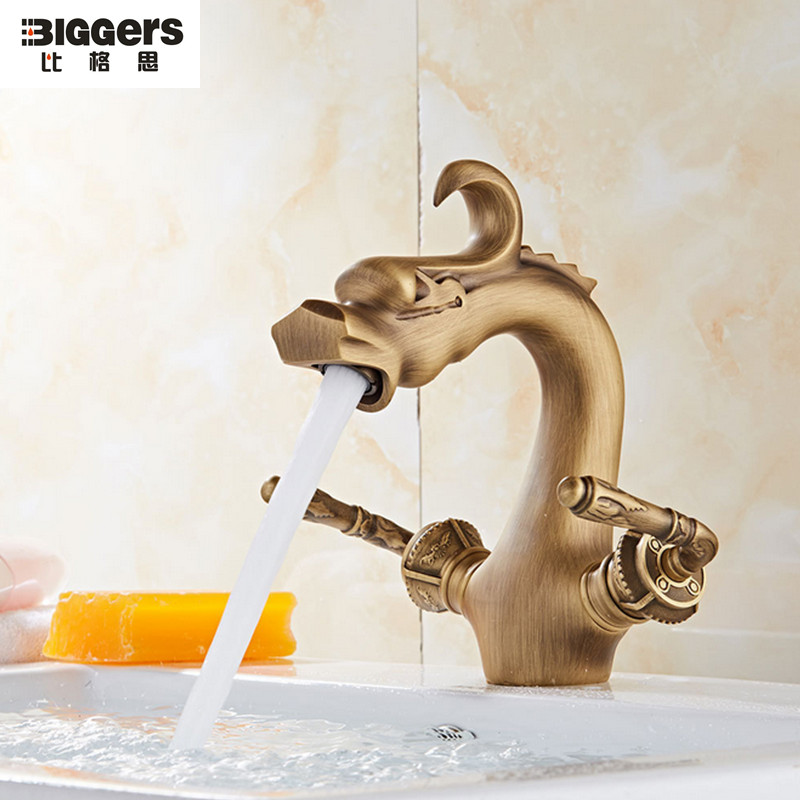 Chinese Antique Bronze Dragon Carved Tap Multifunctional Leakproof Animal Shape Faucet For Garden Bibcock Bathroom Home Improvement