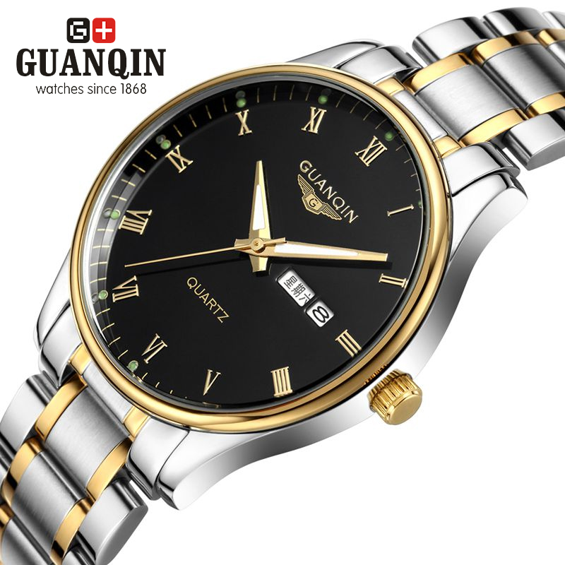 Original GUANQIN Watch Men Luxury Brand Quartz Watch Fashion Business Casual Wristwatches Men Watch Stainless Steel Wristwatches стоимость