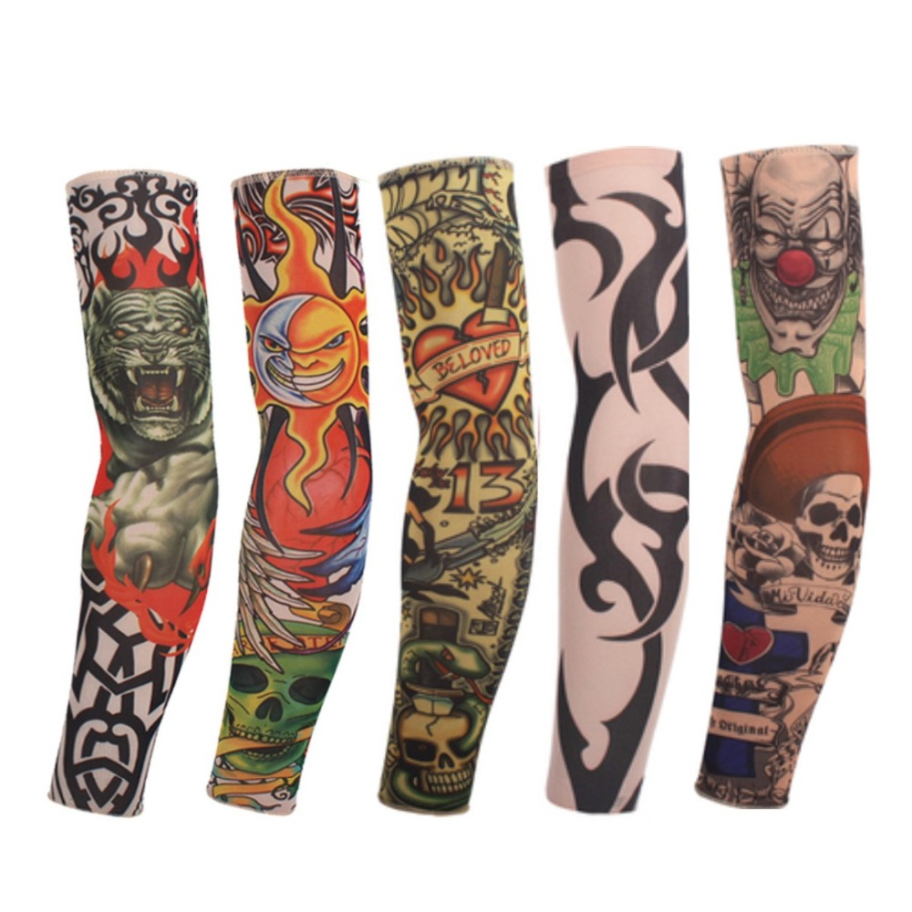 8 Pcs New mixed 100% Nylon Elastic Fake Temporary Tattoo Sleeve Designs Body Arm Stockings Tatoo for Cool Men Women Free shipping