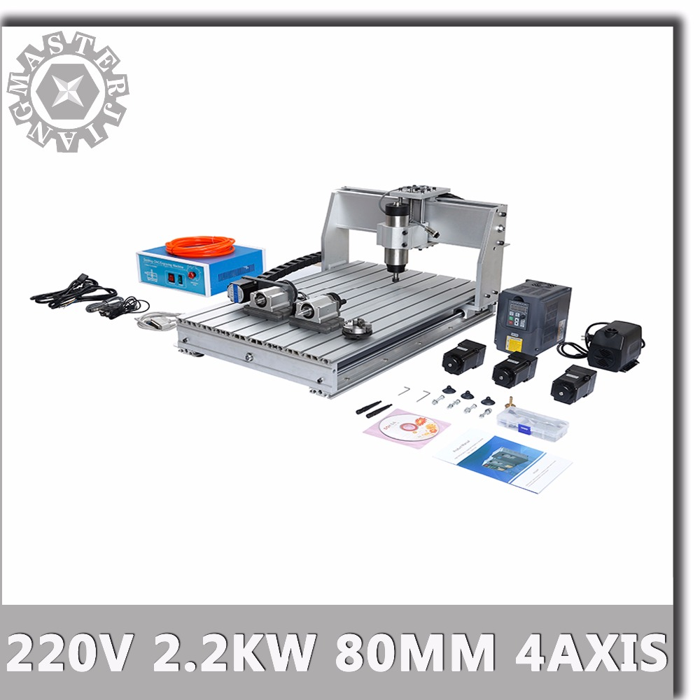 220V 4 Axis Engraving Pcb 6040T CNC Milling Machine 2 2KW 80MM Water cooled 2 2KW