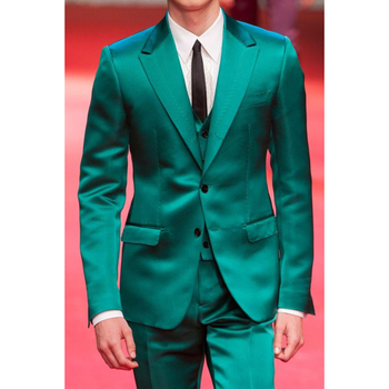 Custom Made Green Satin Men Suits Slim Fit Groom Tuxedos 3 Pieces Wedding Suits Fashion Prom/Party Suits (Jacket+Pant+Vest)