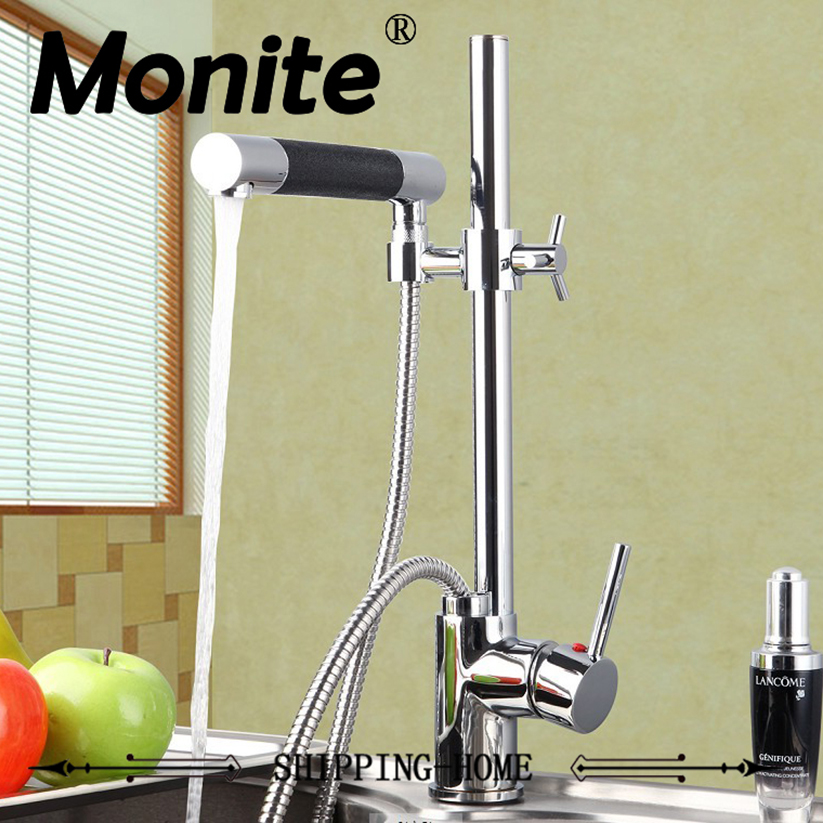 Kitchen Faucet Solid Brass kitchen Basin Faucet Hot&Cold Water Tap Pull Out Chrome Finish Kitchen Sink Mixer Taps With Hose spring pull out kitchen sprayer faucet brass material modern chrome double faucet design hot and cold wash basin sink mixer tap