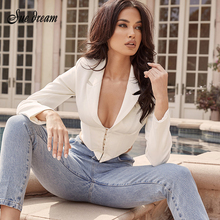 2020 Summer New Women's White Sexy Jacket Long-sleeved Singl