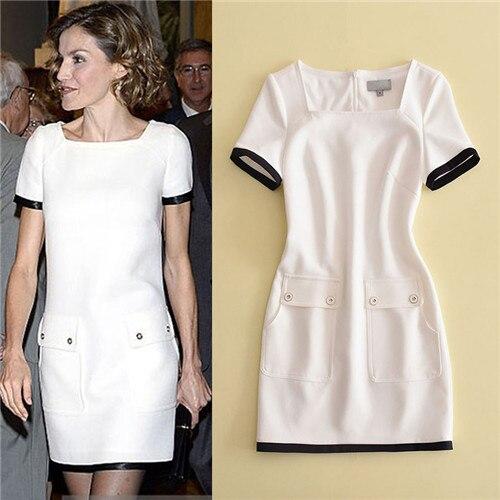 luxury 2017 Summer classy women's one piece dresses short sleeve designer brief dress black side white dresses square collar