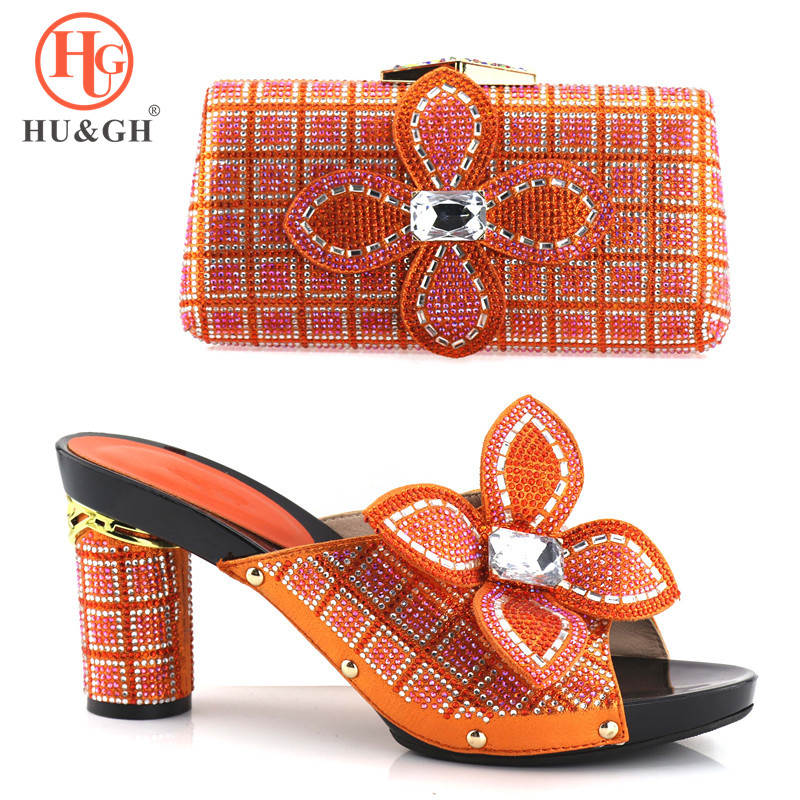 New Orange Color Italian Shoes with Matching Bags for Wedding Italy Nigerian Wedding Shoes and Bag Set African Party women shoes 2016 new arrival fashion peep toe italian shoes with matching bags set for wedding african party shoes and bag set q1 15