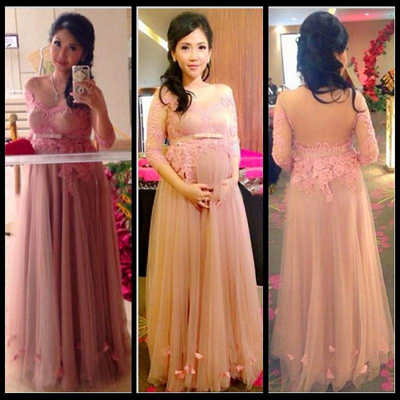 Pregnant Formal Evening Dresses 2016 Pink tull Appliques three ...