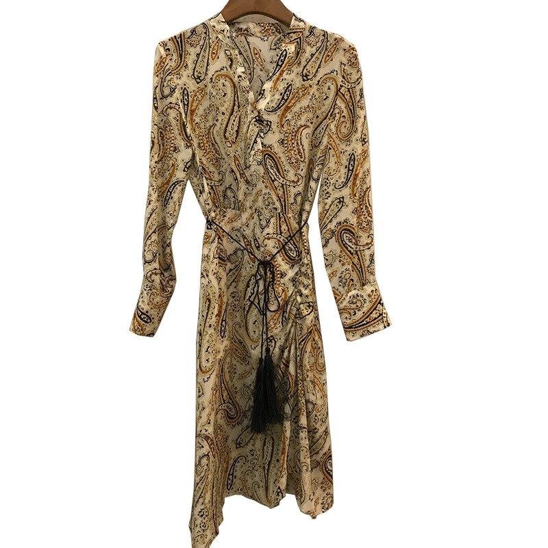 Платье рубашка с принтом женское винтажное Повседневное платье с длинным рукавом с принтом женское 2019 подиумное боковое раздельное платье